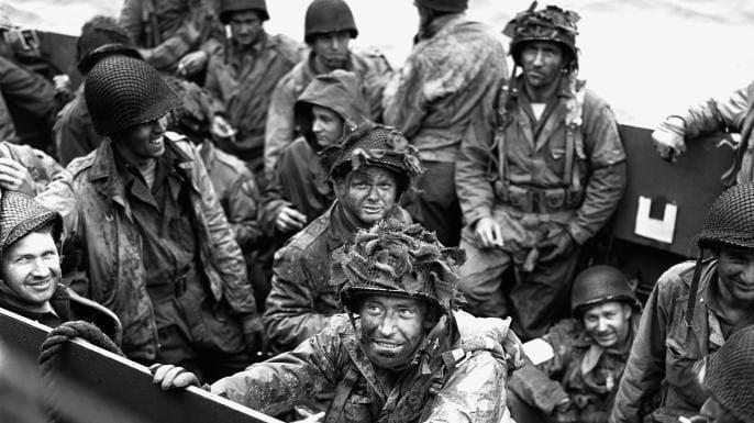 Allied troops in their landing craft